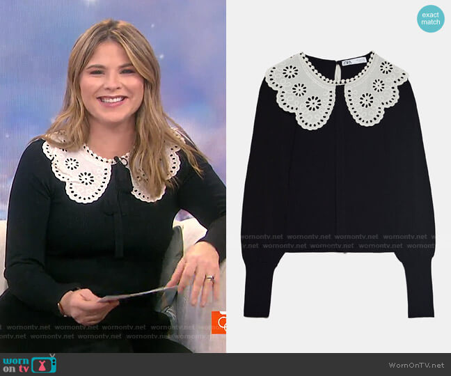Ribbed Contrasting Sweater by Zara worn by Jenna Bush Hager  on Today