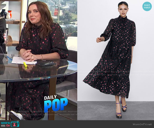 Voluminous Midi Dress by Zara worn by Melanie Bromley  on E! News