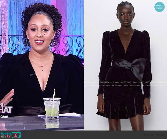 Velvet Bow Jacket by Zara worn by Tamera Mowry  on The Real