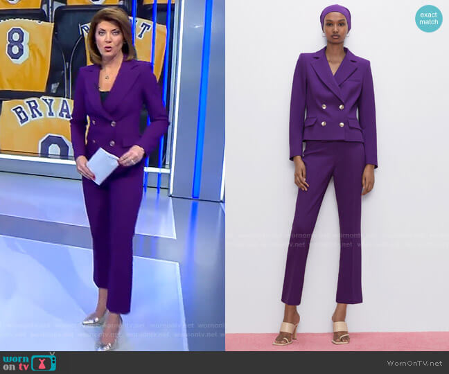 Buttoned Cropped Blazer and Mini Flare Pants by Zara worn by Norah O'Donnell  on CBS Evening News