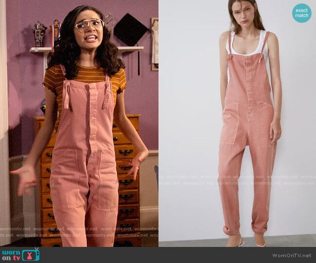 Zara Colored Denim Jumpsuit worn by Ashley Garcia (Paulina Chávez) on The Expanding Universe of Ashley Garcia