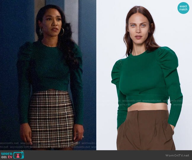 Zara Cropped Ribbed Sweater worn by Iris West (Candice Patton) on The Flash