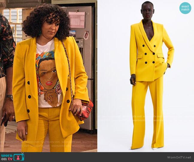Zara Double Breasted Yellow Blazer worn by Cocoa McKellan (Tia Mowry-Hardrict) on Family Reunion