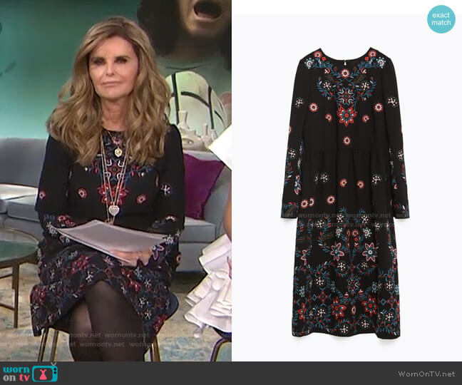 Floral Embroidered Dress by Zara worn by Maria Shriver  on Today