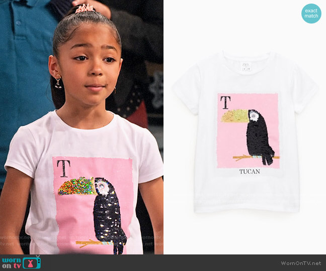 Zara Girls Sequin Toucan T-shirt worn by Ami (Jordyn Raya James) on Family Reunion