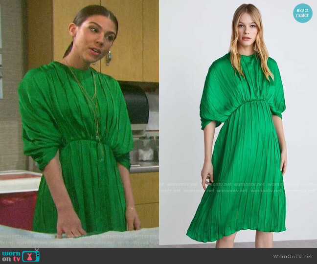 Zara Pleated Midi Dress worn by Abigail Deveraux (Kate Mansi) on Days of our Lives