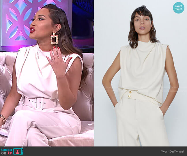 Pleated Top by Zara worn by Adrienne Houghton  on The Real
