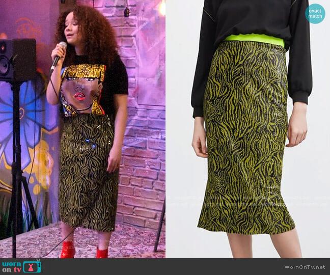 Zara Sequin Animal Skirt worn by Jade (Talia Jackson) on Family Reunion