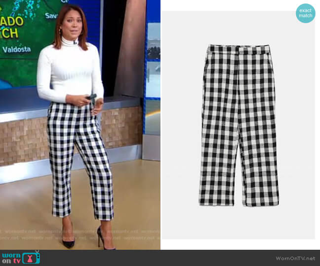 Two-Tone Plaid Pants by Zara worn by Ginger Zee  on Good Morning America