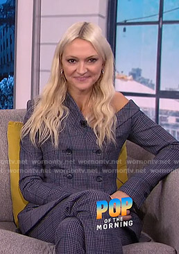 Zanna Roberts Rassi's plaid one-shoulder blazer and pants on E! News