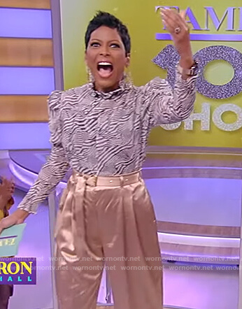 Tamron's printed mock neck top and pants on Tamron Hall Show