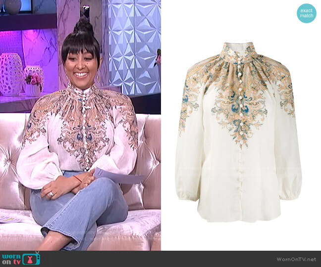 Freja Blouse by Zimmermann worn by Tamera Mowry  on The Real