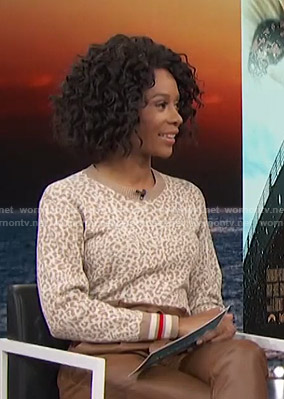 Zuri's white and beige leopard sweater on Access Hollywood