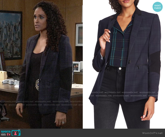 1.State Wild One Contrast Panel Plaid Blazer worn by Jordan Ashford (Briana Nicole Henry) on General Hospital