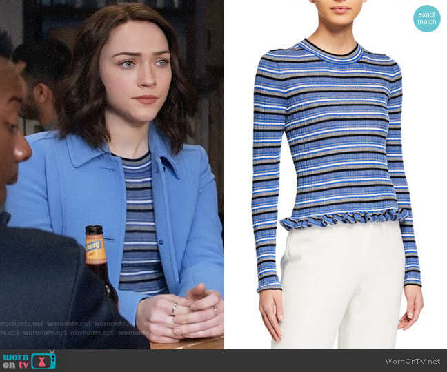 Derek Lam 10 Crosby Lilika Sweater worn by Cara Bloom (Violett Beane) on God Friended Me