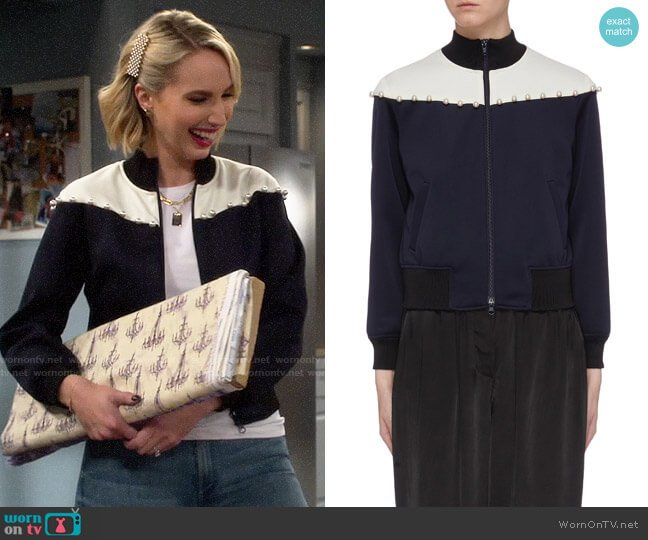 3.1 Phillip Lim Faux pearl colourblock yoke track jacket worn by Mandy Baxter (Molly McCook) on Last Man Standing