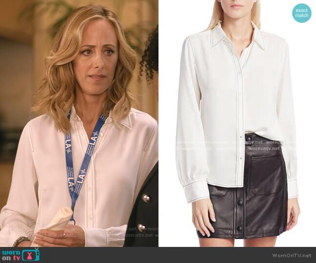 70s Contrast Stitch Puff-Sleeve Silk Shirt by Frame worn by Teddy Altman (Kim Raver) on Greys Anatomy