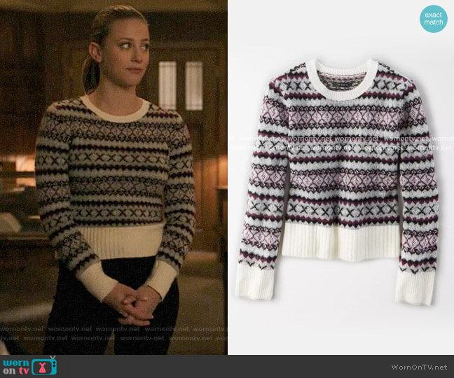 AE Studio Fairisle Crew Neck Sweater worn by Betty Cooper (Lili Reinhart) on Riverdale