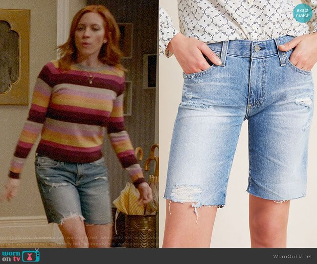AG The Nikki Low-Rise Denim Bermuda Shorts worn by Roxy Doyle (Emily Osment) on Almost Family