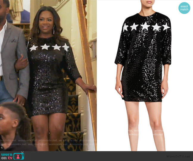 Star Applique 3/4-Sleeve Sequin Cocktail Dress by Aidan by Aidan Mattox worn by Kandi Burruss  on The Real Housewives of Atlanta