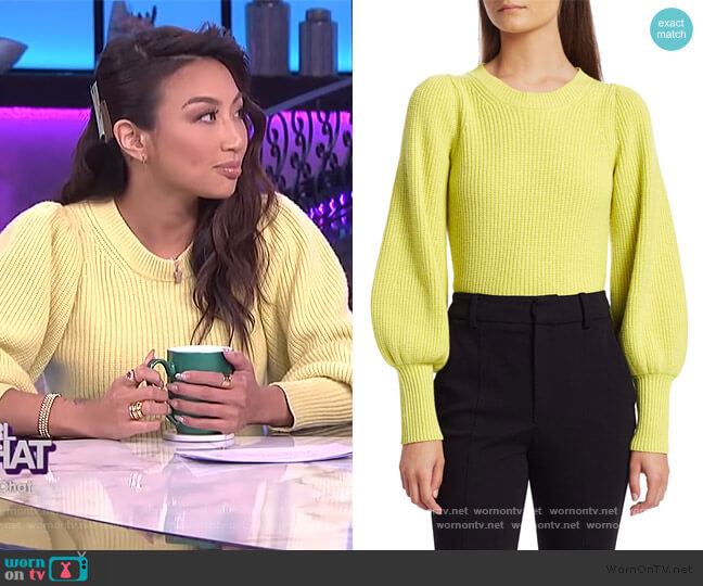 Eliana Crewneck Bishop-Sleeve Sweater by A.L.C worn by Jeannie Mai  on The Real