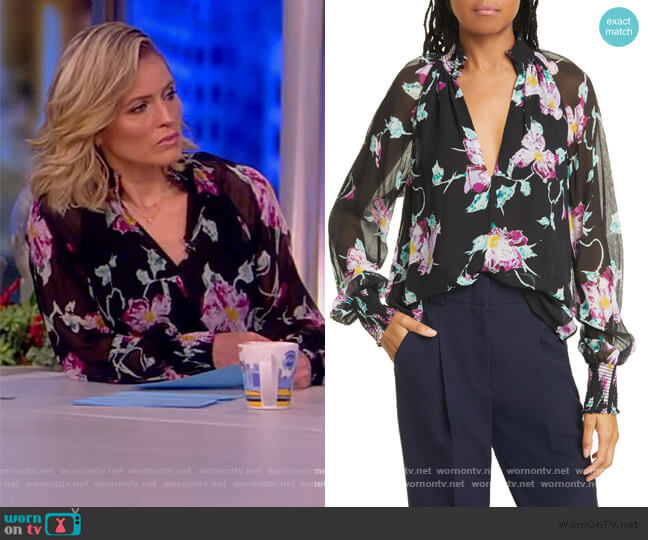 Venetia Floral Silk Blouse by A.L.C. worn by Sara Haines  on The View