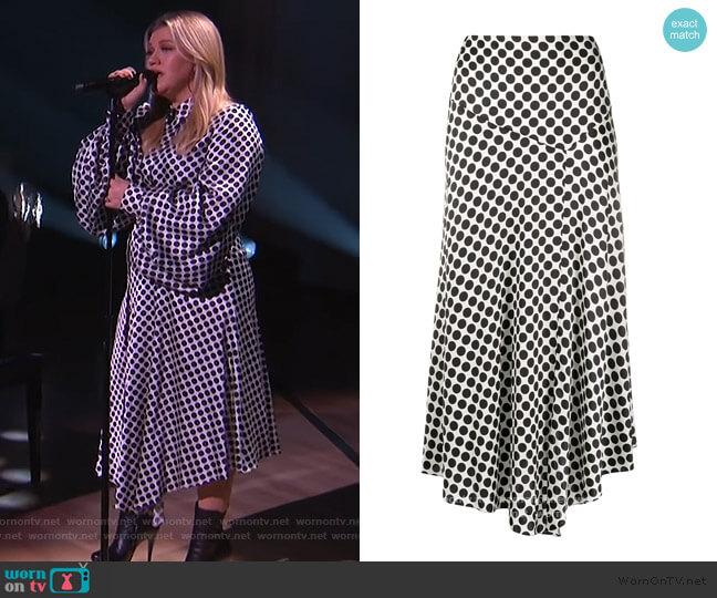 Polka Dot Asymmetric Skirt by Alexandre Vauthier worn by Kelly Clarkson  on The Kelly Clarkson Show