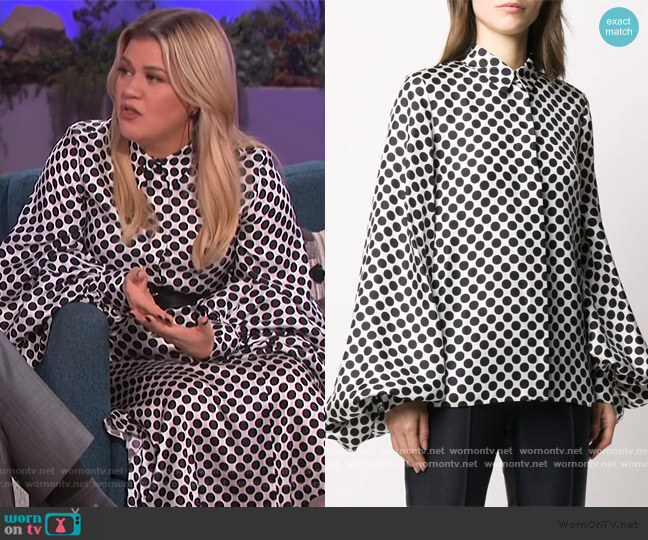 Silk Polka Dot Shirt by Alexandre Vauthier worn by Kelly Clarkson  on The Kelly Clarkson Show