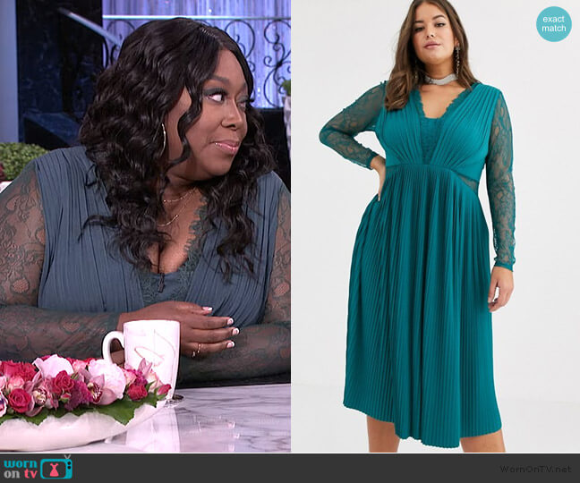 Lace and Pleat Midi Dress by ASOS worn by Loni Love  on The Real