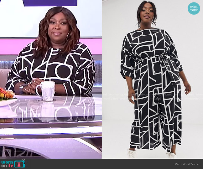 Tie Waist Jumpsuit in Mono Geo Print by Asos worn by Loni Love  on The Real