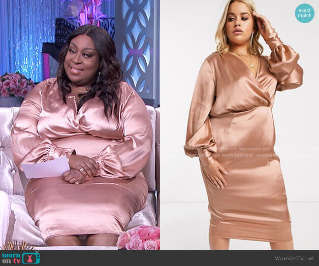 Balloon Sleeve Satin Midi Dress by Asos worn by Loni Love  on The Real