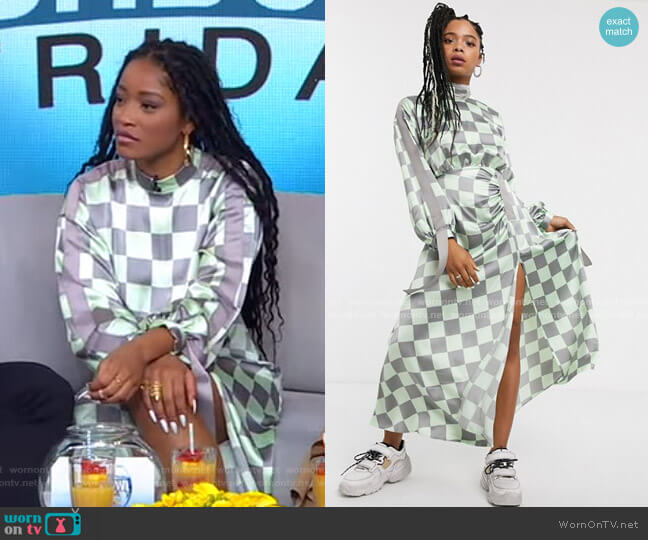 Ruched Satin Midi Dress with Herringbone Tape by Asos worn by Keke Palmer  on Good Morning America