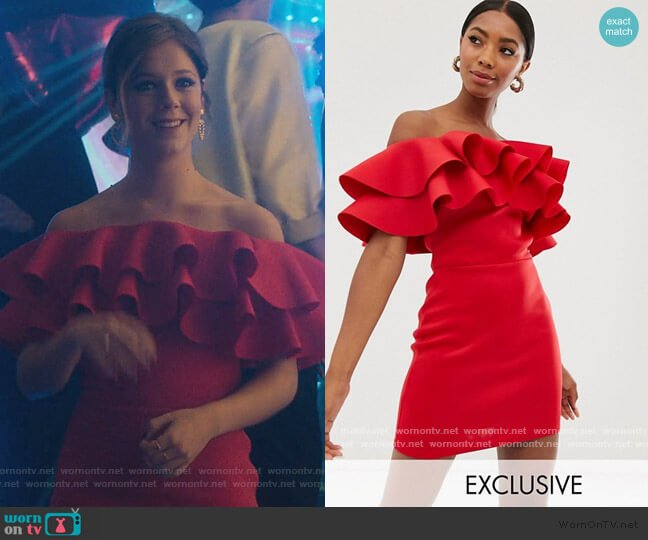 Exaggerated Frill Bandeau Mini Dress in red by True Violet worn by Cayetana Grajera Pando (Georgina Amoros) on Elite
