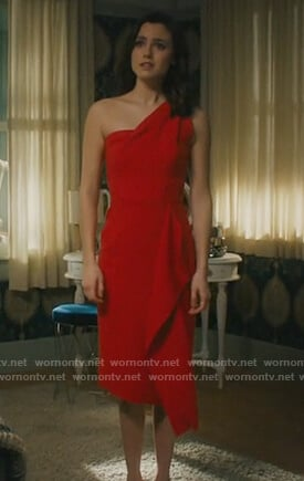 Abigael's red one shoulder ruffle dress on Charmed