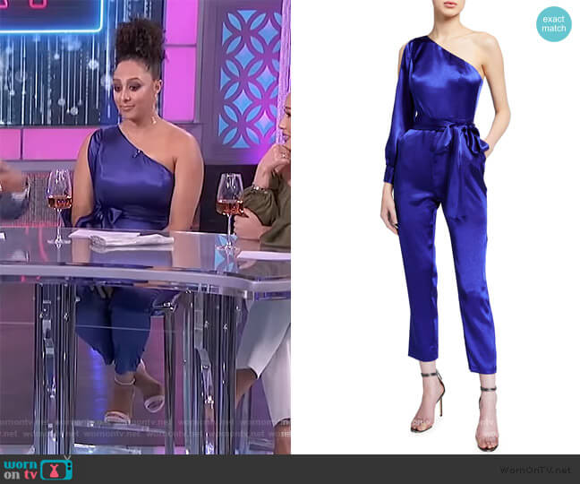One-Shoulder Liquid Satin Jumpsuit by Aidan Mattox worn by Tamera Mowry  on The Real
