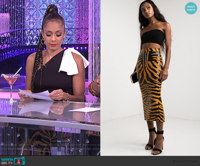 Go Wild Midi Skirt by Akira worn by Amanda Seales  on The Real