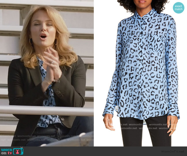 Emerson Leopard Print Silk Top by A.L.C. worn by Laura Baker (Monet Mazur) on All American