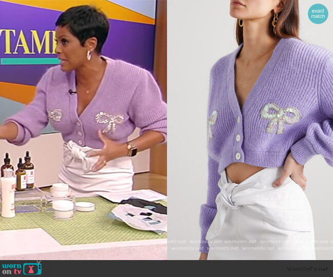 Sequin-embellished Mohair-blend Cardigan by Alessandra Rich worn by Tamron Hall  on Tamron Hall Show