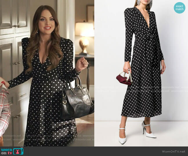 Polka Dot Tea Dress by Alessandra Rich worn by Fallon Carrington (Elizabeth Gillies) on Dynasty