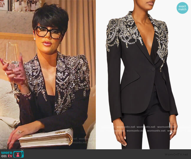 Crystal-embellished Single-breasted Blazer by Alexander Mcqueen worn by Khloe Kardashian  on Keeping Up with the Kardashians