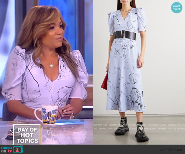 Gathered Printed Silk Midi Dress by Alexander McQueen worn by Sunny Hostin  on The View