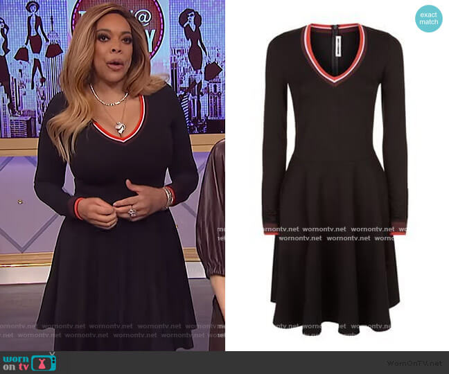 Black v-neck Dress by Alexander Mcqueen worn by Wendy Williams  on The Wendy Williams Show