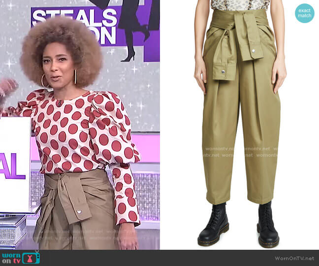 Tie Waist Cotton Trousers by Alexander Wang worn by Amanda Seales  on The Real