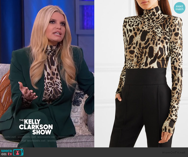 Leopard-print Turtleneck Bodysuit by Alexandre Vauthier worn by Jessica Simipson on The Kelly Clarkson Show
