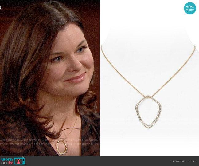 Alexis Bittar Miss Havisham Pave Kite Orbit Pendant Necklace worn by Katie Logan (Heather Tom) on The Bold & the Beautiful