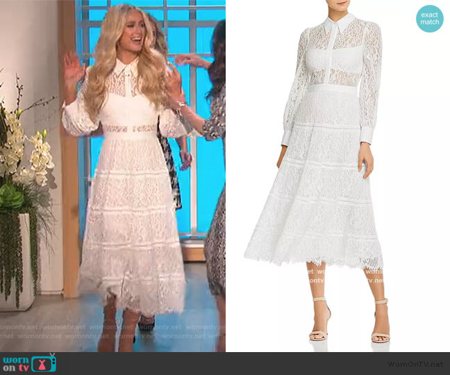 Anaya Collared Tiered Dress by Alice + Olivia worn by Paris Hilton on The Talk