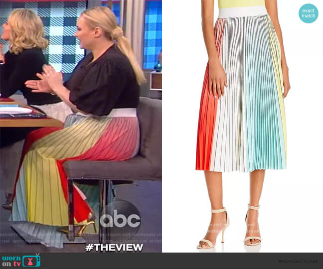 Arden Pleated Midi Skirt by Alice + Olivia worn by Meghan McCain  on The View