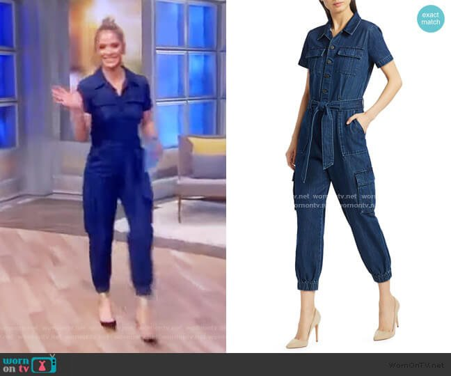 Denim Cargo Jumpsuit by Alice + Olivia worn by Sara Haines  on The View
