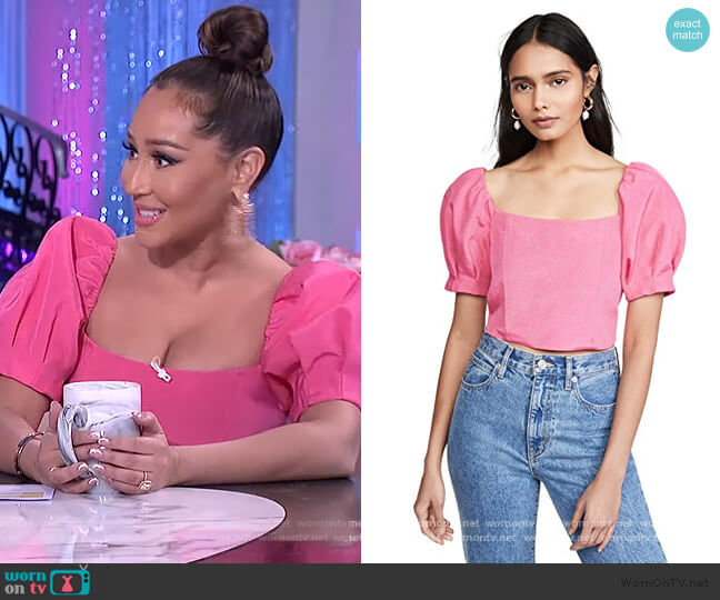 Joslyn Puff Sleeve Cropped Top by Alice + Olivia worn by Adrienne Houghton  on The Real