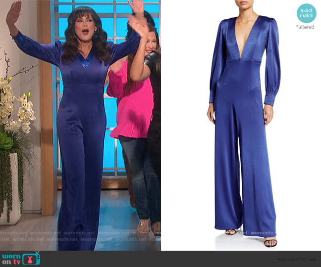 Lisa Satin Deep V-Neck Jumpsuit by Alice + Olivia worn by Marie Osmond  on The Talk